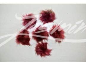 Bambule kožešinová 8cm fialovo-červená
