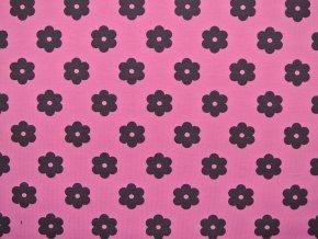 Elastická teplákovina kytky na růžové (zbytek S VADOU)