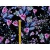 Viskozový úplet kytice květů na černé (digitisk)