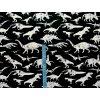 Elastická teplákovina černo-bílí dinosauři (digitisk)