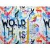 Elastická teplákovina graffiti na bílé  (digitisk)