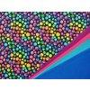 Elastická teplákovina barevné puntíky na černé (digitisk)