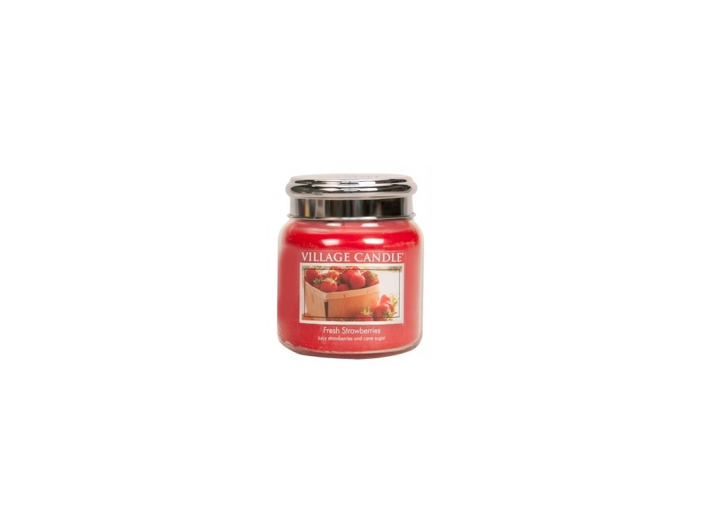 Village Candle Vonná svíčka Čerstvé Jahody - Fresh Strawberries, 390 g