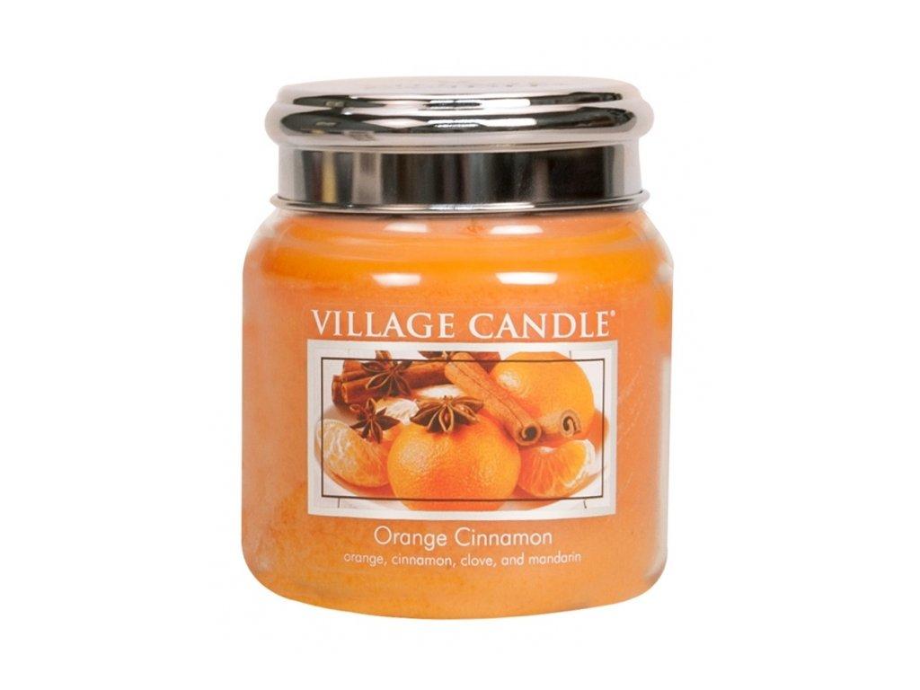Village Candle Vonná svíčka Pomeranč a Skořice - Orange Cinnamon, 390 g
