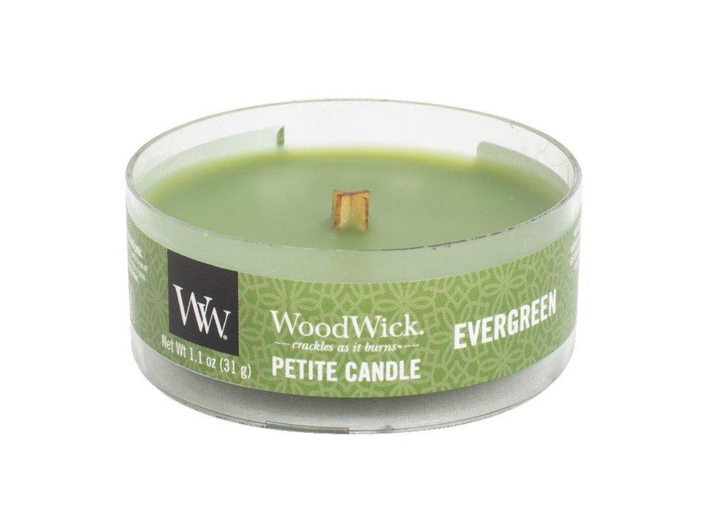 WoodWick Svíčka Petite Evergreen, 31 g