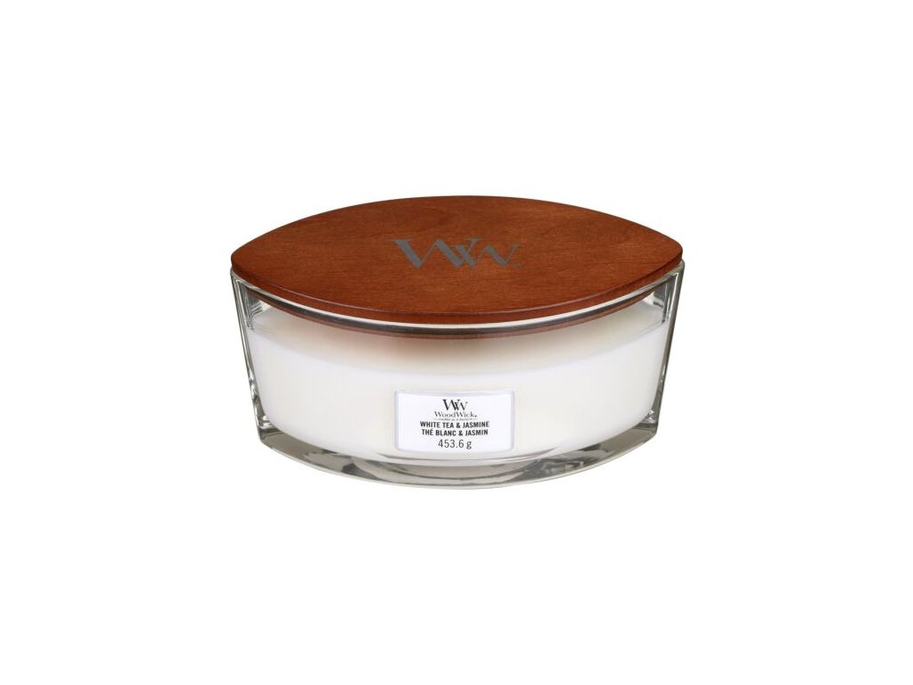 WoodWick Svíčka loď White Tea & Jasmine, 453 g