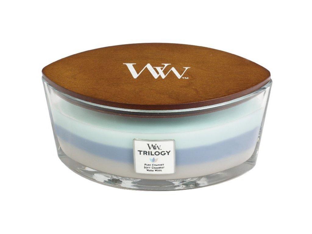 WoodWick Svíčka loď Trilogy Woven Comforts, 453 g