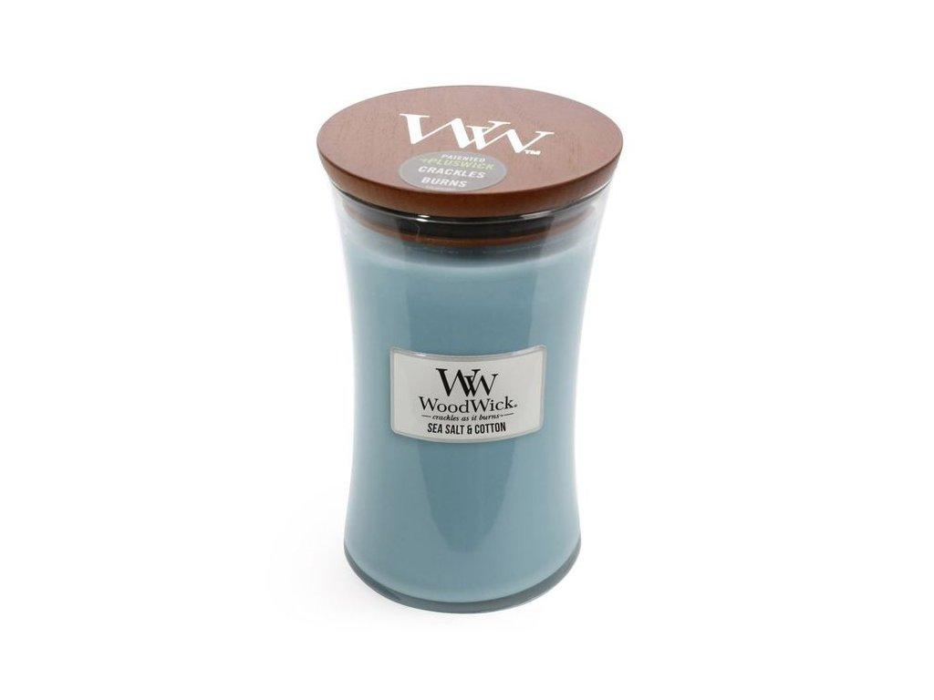WoodWick Svíčka Sea Salt & Cotton váza velká, 609,5 g