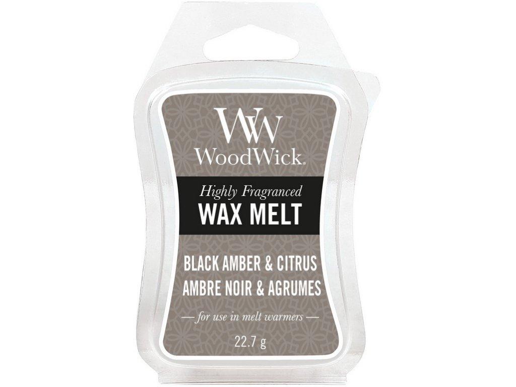 WoodWick Vonný vosk do aromalampy BLACK AMBER & CITRUS, 22,7 g