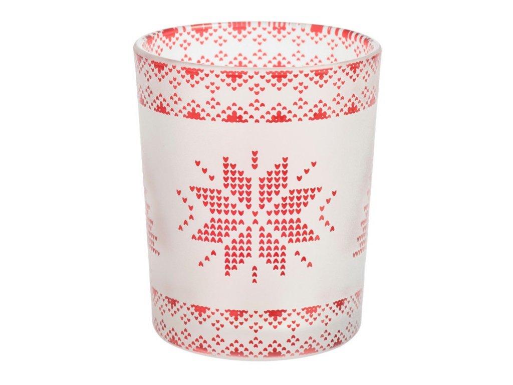 Yankee Candle Red Nordic Frosted Glass Svícen na votivní, čajovou svíčku menší