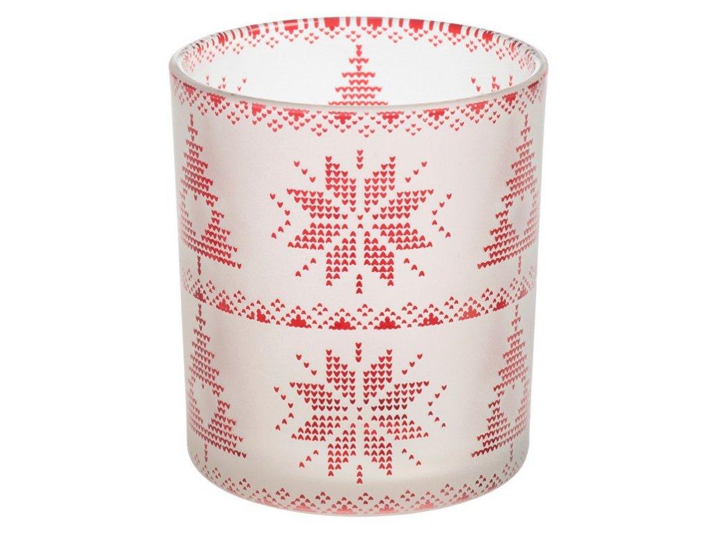 Yankee Candle Red Nordic Frosted Glass Svícen na votivní, čajovou svíčku