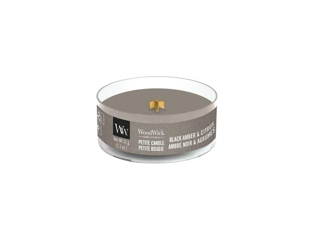 WoodWick Svíčka Petite Black Amber & Citrus, 31 g
