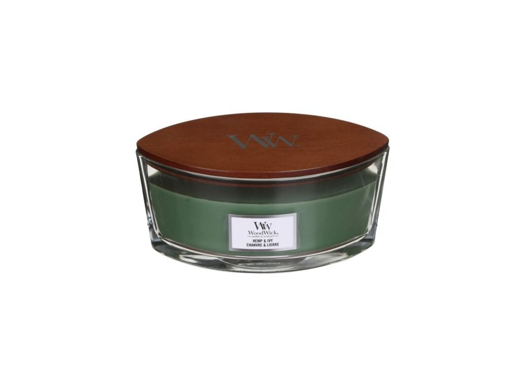 WoodWick Svíčka loď Hemp & Ivy, 453 g