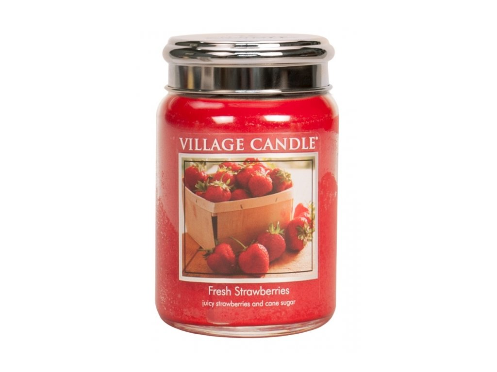 Village Candle Vonná svíčka Čerstvé Jahody - Fresh Strawberries, 602 g