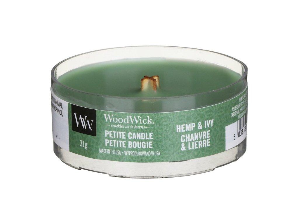 WoodWick Svíčka Petite Hemp & Ivy, 31 g