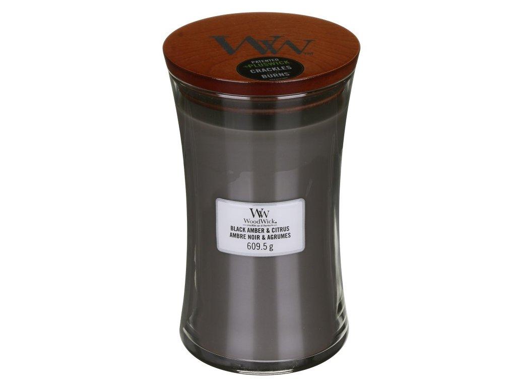 WoodWick Svíčka Black Amber & Citrus váza velká, 609,5 g