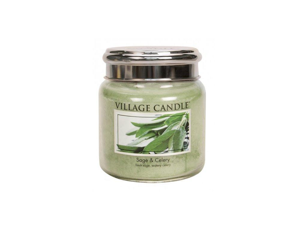 Village Candle Vonná svíčka Svěží Šalvěj - Sage & Celery, 389 g
