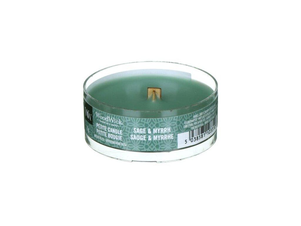 WoodWick Svíčka Petite Sage & Myrrh, 31 g