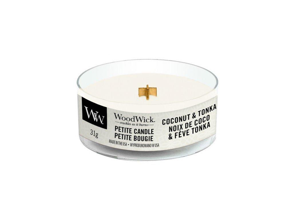 WoodWick Svíčka Petite Coconut & Tonka, 31 g