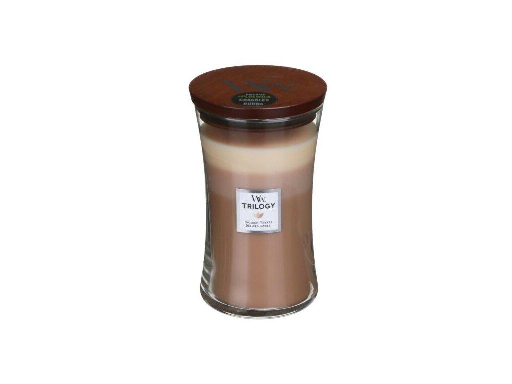 WoodWick Trilogy Golden Treats Svíčka váza velká, 609,5 g