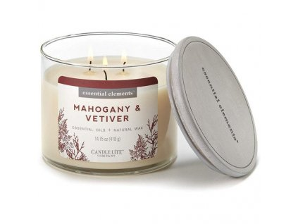 Candle-Lite Essential Elements svíčka Mahogany & Vetiver, 418 g