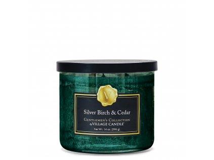 Village Candle Vonná svíčka 3 knotá Stříbrná bříza & Cedr - Silver Birch & Cedar, 396 g