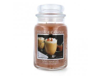 village candle salted caramel latte scented candle large jar 602 g 2125 oz