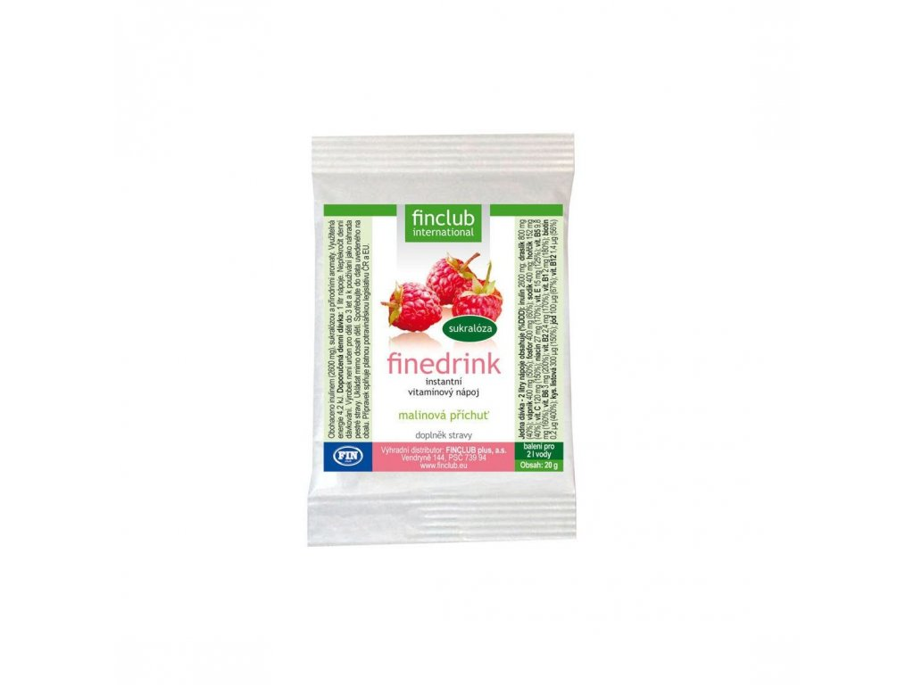 Finedrink sladený sukralózou malina 20 g