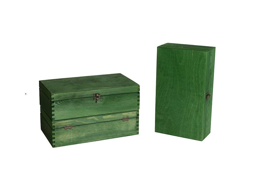 drevena krabicka na 2 vina zatvaracia zelena VK 2 15