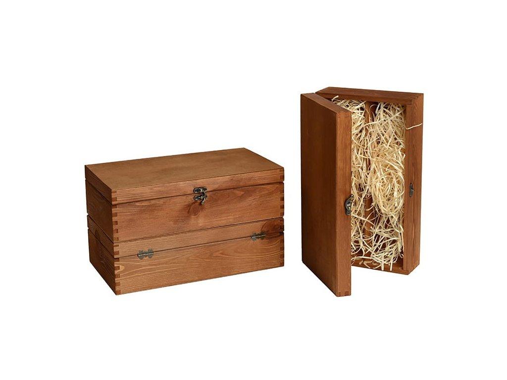 drevena krabicka na 2 vina zatvaracia zazvorova vypln drevena vlna VK 2 16 W