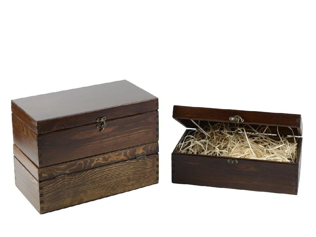 drevena krabicka na 2 vina zatvaracia orechova lakovana vypln drevena vlna VK 2 12L W