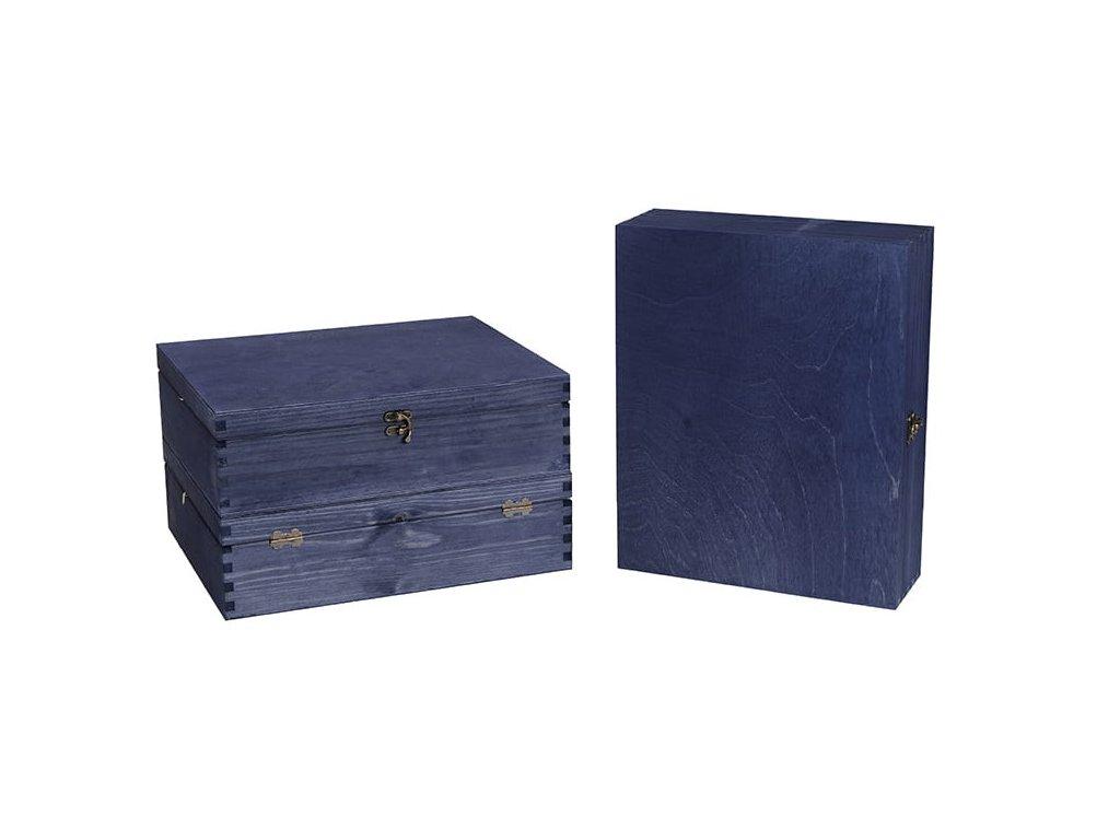 drevena krabicka na 3 vina zatvaracia modra VK 3 18