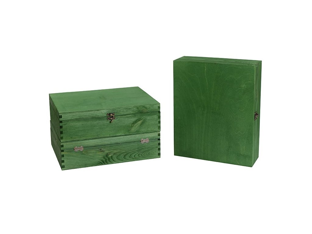 drevena krabicka na 3 vina zatvaracia zelena VK 3 15
