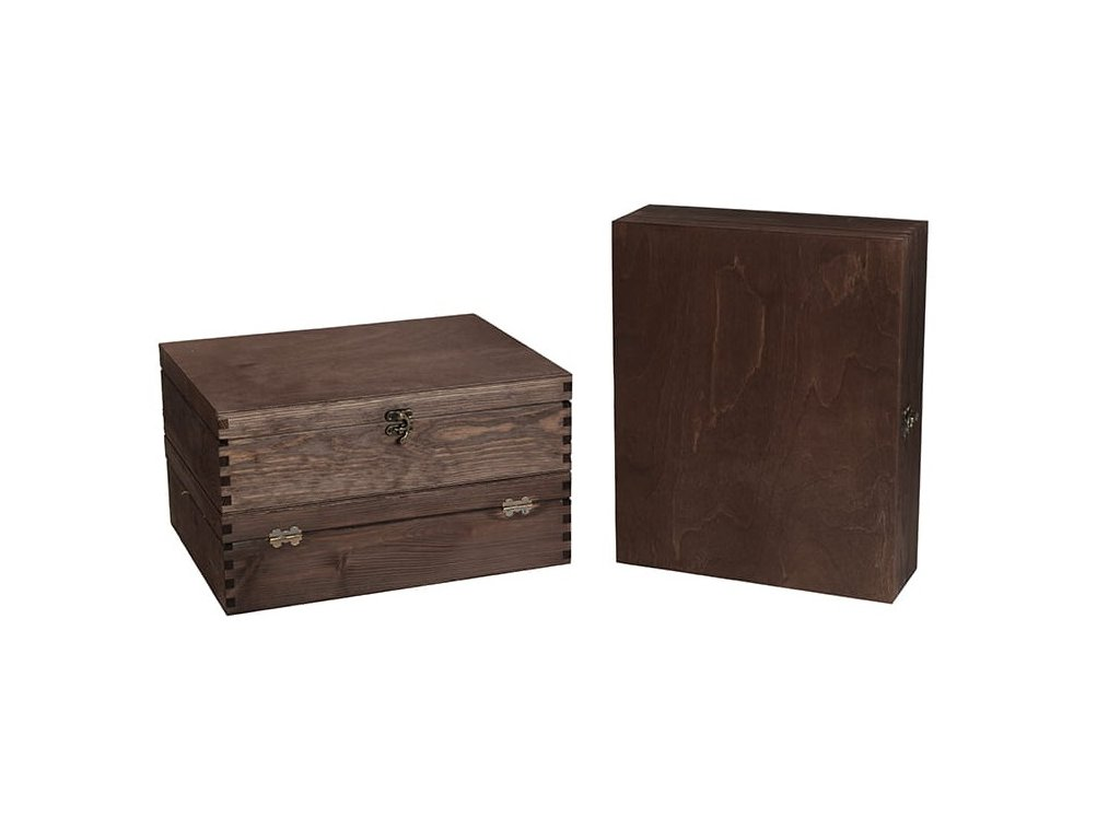 drevena krabicka na 3 vina zatvaracia palisandrova VK 3 13
