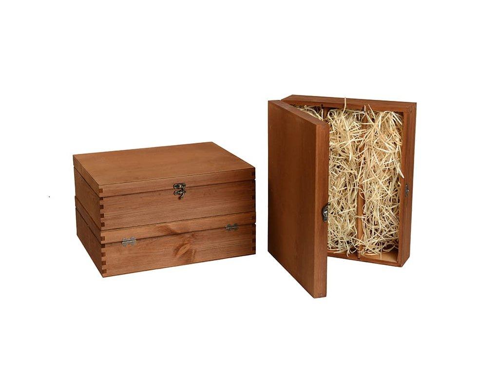 drevena krabicka na 3 vina zatvaracia hneda vypln drevena vlna VK 3 14 W