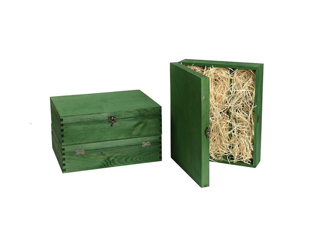 drevena krabicka na 3 vina zatvaracia zelena vypln drevena vlna VK 3 15 W