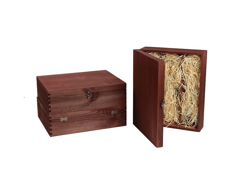 drevena krabicka na 3 vina zatvaracia mahagonova vypln drevena vlna VK 3 11 W