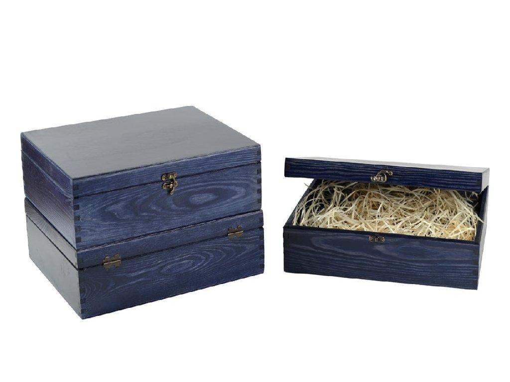 drevena krabicka na 3 vina zatvaracia modra lakovana vypln drevena vlna VK 3 18L W