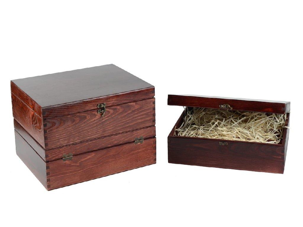 drevena krabicka na 3 vina zatvaracia mahagovona lakovana vypln drevena vlna VK 3 11L W