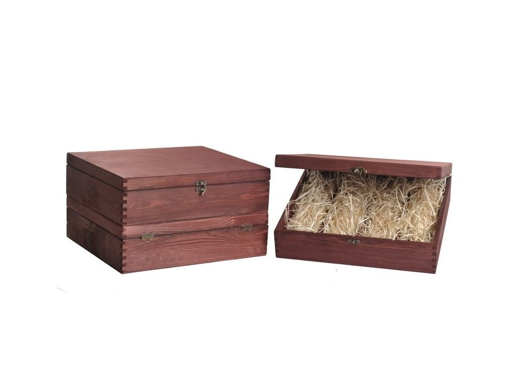 drevena krabicka na 4 vina zatvaracia mahagonova vypln drevena vlna VK 4 11 W
