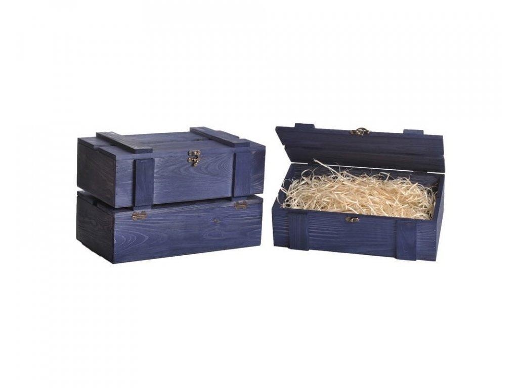 drevena bendicka na dve vina modra vypln drevena vlna VKS 2 18 W