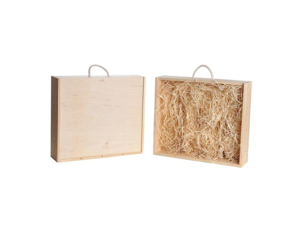 drevena krabicka na vino 4 zasuvna vypln drevena vlna