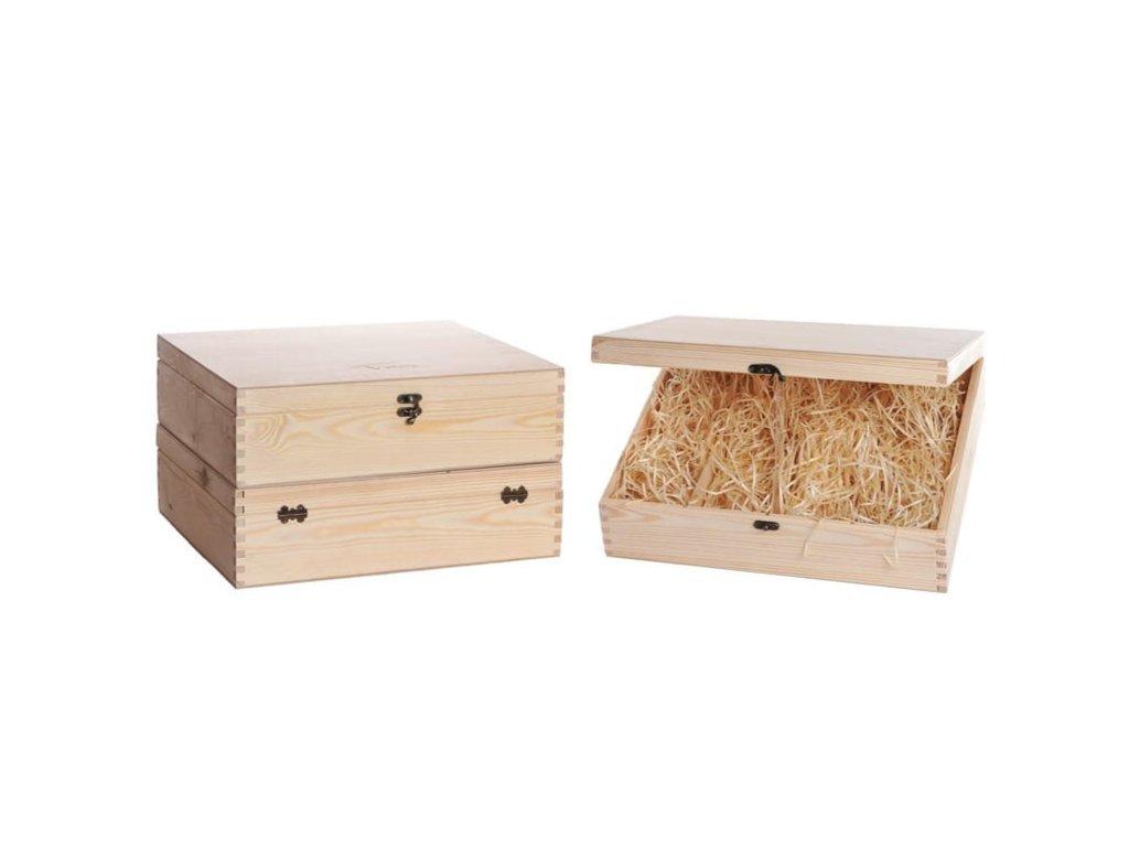 drevena krabicka na vino 4 zatvaracia vypln drevena vlna