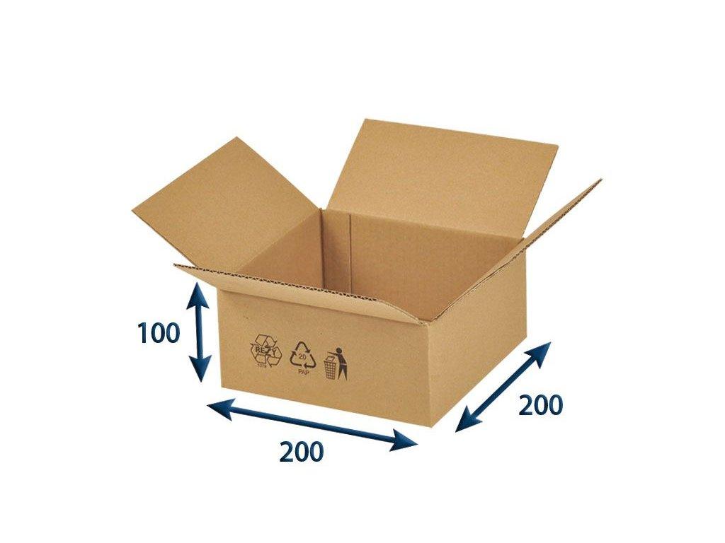 kartonova krabica 200 x 200 x 100 3vvl chlopnova