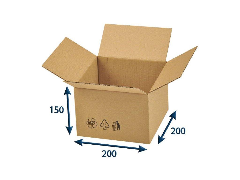 kartonova krabica 200 x 200 x 150 3vvl chlopnova