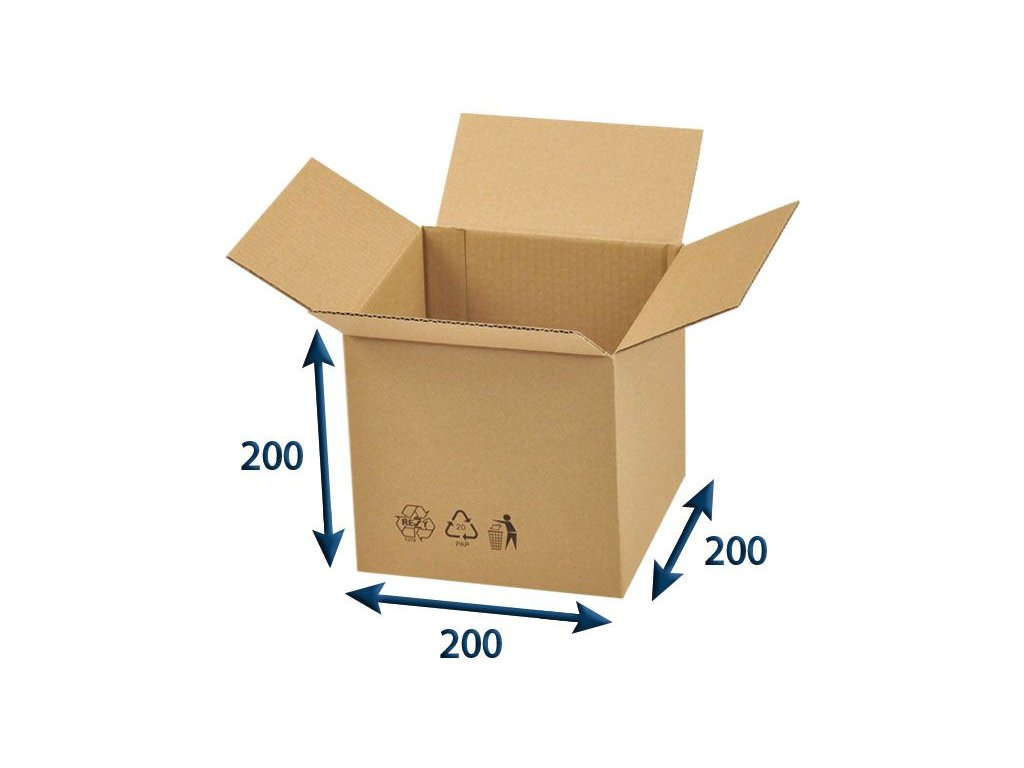 kartonova krabica 200 x 200 x 200 3vvl chlopnova