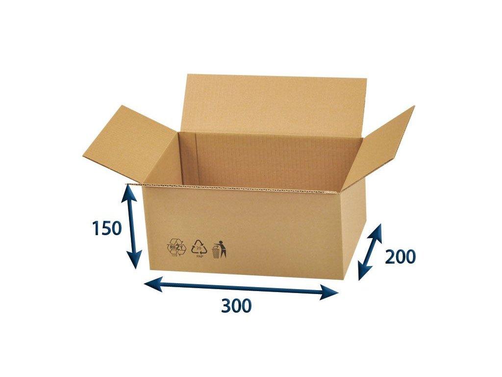 kartonova krabica 300 x 200 x 150 3vvl chlopnova