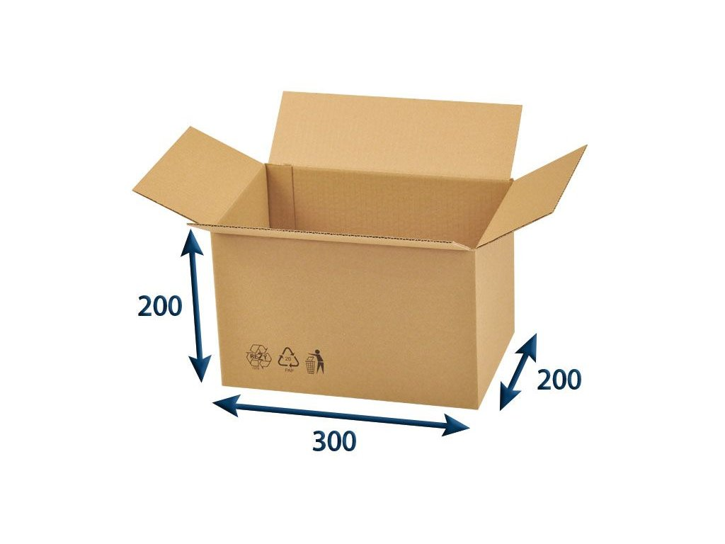 kartonova krabica 300 x 200 x 200 3vvl chlopnova
