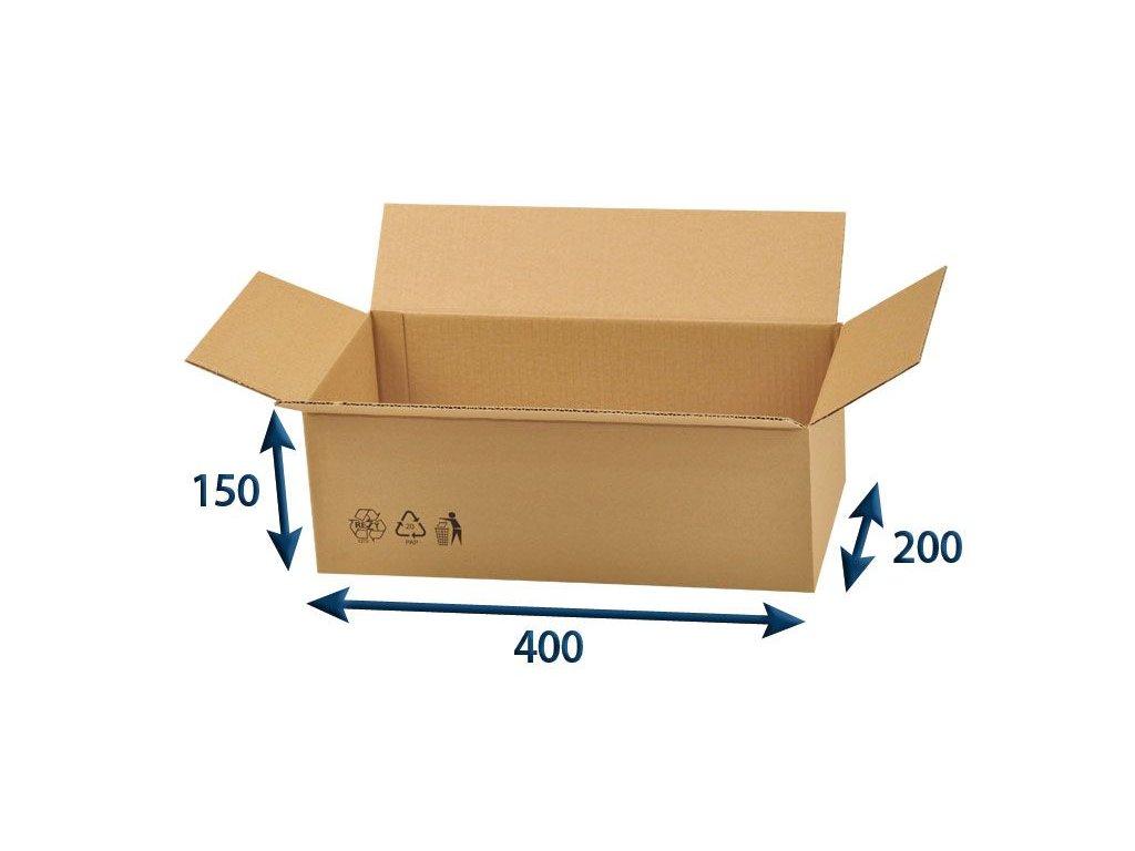 kartonova krabica 400 x 200 x 150 3vvl chlopnova