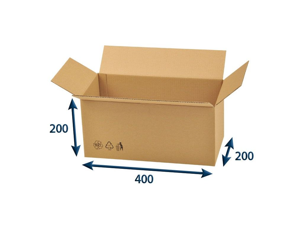 kartonova krabica 400 x 200 x 200 3vvl chlopnova